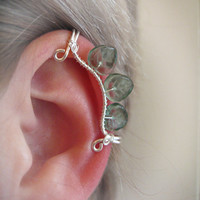 Gildor Ear Cuff elvish Tolkien green aqua blue gray leaf leaves silver wire glass bead LOTR Lord of the Rings