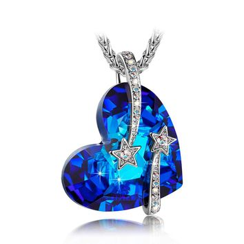 """LadyColour """"Venus"""" Shooting Star Engraved Bermuda Blue Heart Necklace Made With Swarovski Crystals"""