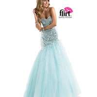 Flirt by Maggie Sottero 2014 Prom Dresses - Silver & Aqua Sequin Ombre Prom Gown