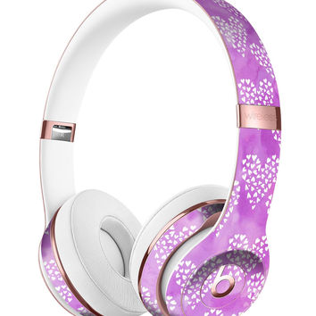 Micro Hearts Over Purple adn Piink Grunge Surface Full-Body Skin Kit for the Beats by Dre Solo 3 Wireless Headphones