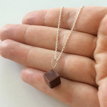 Handcrafted Festival wear Silver Petite Red Petrified Wood Cube charm necklace 16 inches with adjustable clasp