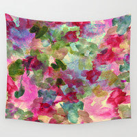 watercolor abstract floral Wall Tapestry by clemm