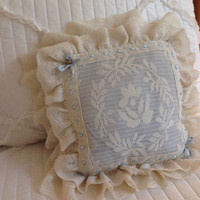1950s blue filet lace boudoir pillow, vintage pillows, ribbon pillow, lace pillows, vintage pillows