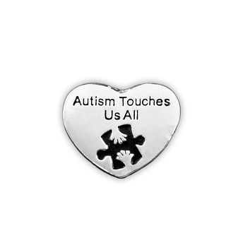 Autism Awareness Heart Pin - Autism Touches Us All