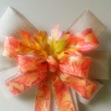 Fall Leaf Burlap  Bow, Fall Wedding Bow, Fall Wreath Bow, Fall Pew Bow,  Thanksgiving Decor, Fall Decor Door Mailbox Tree Topper Decoration
