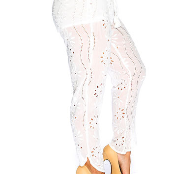 White Floral Embroider Perforated High Waist Pants