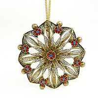 Vintage Portugal Sterling Silver & Enamel Flower Pendant Necklace
