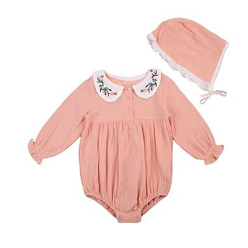 Lovely Newborn Baby Girl Romper Embroidery Peter Pan Collar Long Sleeve Toddler Kids Floral Jumpsuit+Hat 2PCS Outfit Clothing