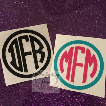 Circle Frame Monogram Decal - Initial Decal - Custom - One Color or Two - Perfect for Yeti, RTIC, Car, Jeep, Laptop and So Much More!