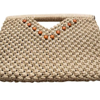 Vintage 1970s Original by Bessye Burwell Tan Macramé Clutch Bag