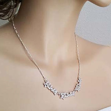 Bridal Rhinestone Necklace Wedding Elegant Statement Necklace Bridal Crystal Necklace Bridesmaids Gift
