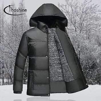 Thoshine Spring Autumn Winter Men Solid Color Parkas Male Thick Hooded Coats Homme Thermal Warm Jackets Brand Outerwear Clothing