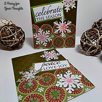 Peace, Love, Joy , Celebrate, Handmade Holiday Card Pair .