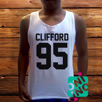 Michael Clifford 5SOS Men's White Cotton Solid Tank Top