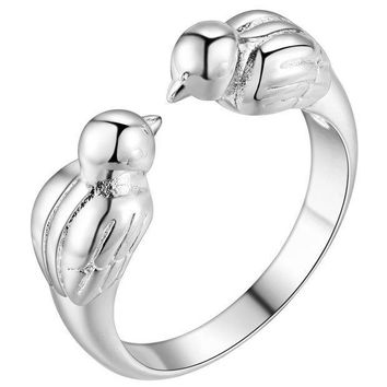 ESBONEJ OPAL FERRIE - 925 Sterling Silver Plated Charming Kissing Bird Ring