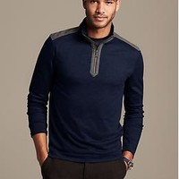 Luxe-Touch Tipped Half-Zip Pullover