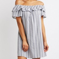 Striped Off-The-Shoulder Shift Dress | Charlotte Russe