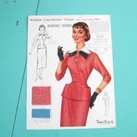 1950s Vintage Fashion Illustrations/Decor w/ Swatches: Fashion Frocks Sales Sample Sheets; Audrey Hepburn Style; Fit/Flare + '60s Suit