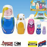 Adventure Time Fionna and Cake Collectible Wooden Nesting Dolls 5 Piece Set