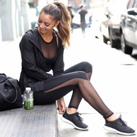 Sexy Mesh Patchwork Leggings Jeggings Sport Stretchy Pantalones Gym Workout
