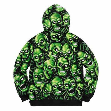 Supreme Autumn and winter new fashion more skull print noctilucent couple hooded long sleeve top sweater