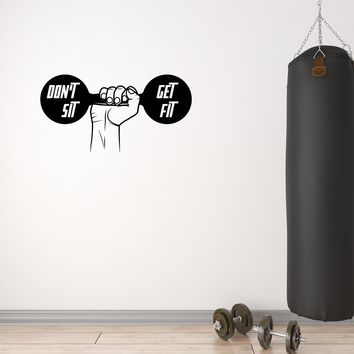 Wall Vinyl Sticker Decal Decor Dumbbell Gym Fitness Sport Decor Unique Gift (g089)