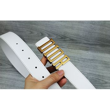 DIOR Tide brand women's casual smooth buckle belt White