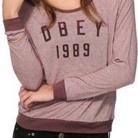 Obey Phys Ed Micro Stripe Raglan Top