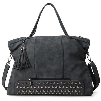 Vintage Rivet Nubuck Leather Women Bag