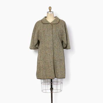 Vintage 60s Bonnie Cashin Coat / 1960s Confetti Tweed Wool Olive Taupe Leather Cape Coat