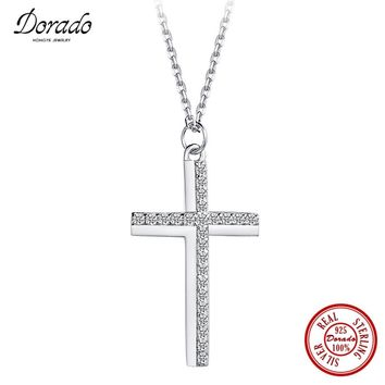 Dorado Fashion Classic Jewelry Simple Cross Pendant with Cubic Zirconia 925 Sterling Silver Necklace Fine Jewelry