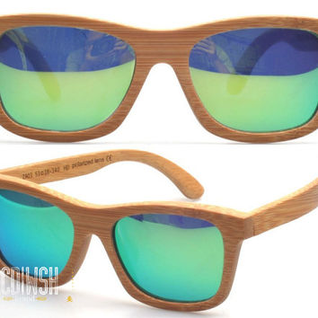 Wood Sunglasses - Eco-Friendly Bamboo Wayfarer Wood Sunglasses w. Green Mirror Lens | Hand Made from Bamboo | Polarized Mirrored Lenses