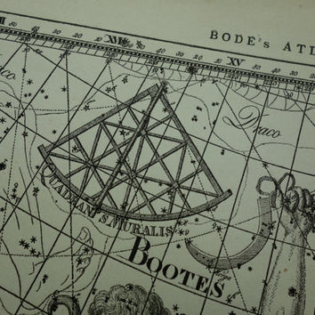 Old star chart Dutch vintage astronomy map of Canes vena Bootes Virgo Coma Berenice sign hemisphere constellation stars 26x37cm/10x15''