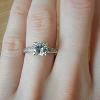 Vintage 14K White Gold 3/4ct Solitaire Diamond Engagement ring