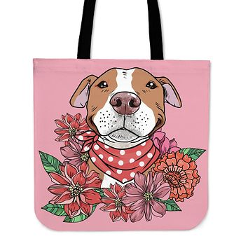 Illustrated Brown Pit Bull Linen Tote Bag