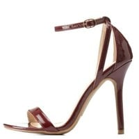 Burgundy Single Sole Ankle Strap Heels by Charlotte Russe