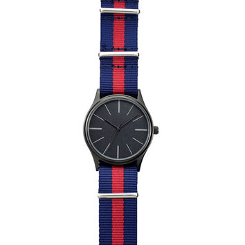 Minimalist  Watch with Long Stripe with two tone Nylon Band - Free shipping