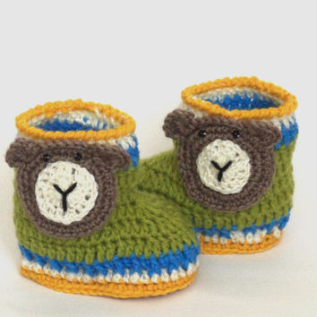 Crochet baby bear. Crochet baby bear booties. Size1 to 6 months. Knitted Baby Booties / shoes / baby