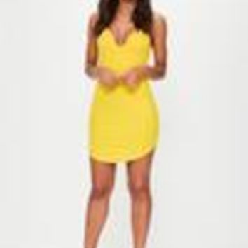 Missguided - Yellow Strappy Plunge Bodycon Dress