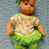 "AMERICAN GIRL Bitty Baby Clothes ""Pond Friends"" (15 inch) doll outfit  dress, leggings, booties/ socks, and hair clip ducks frogs"
