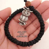 Antique silver owl charm hemp woven bracelet black hemp cord