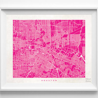 Houston, Texas, Nursery, Poster, Wall Decor, Art, Cute, Town, Illustration, Pretty, Room, Street Map, World, State, Print  [NO 497]
