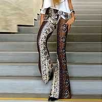 New Fashion Women Ladies Floral Printing Boho Hippie Pants Casual Loose Wide Leg High Waist Flared Pants