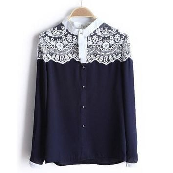 Lace Floral Women Chiffon Shirt Button Down Long Sleeve Loose Ladies Blouses Navy White
