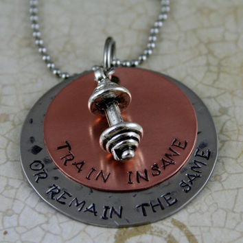 "Hand Stamped Personalized Necklace Copper and Stainless Steel Personal Trainer, Workout, Exercise, Weightlifting Jewelry ""TRAIN INSANE"""
