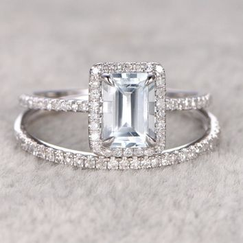 2PCS 1CT Ring For Women Aquamarine & White Topaz