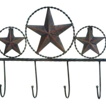 Cast Iron Texas Star Wall Hooks Plaque