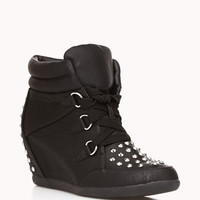 Entrance-Making Spiked Wedge Sneakers