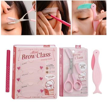 Cute 4pcs/set Eyebrows Pencil Makeup Set  4 Colors Eyebrow Enhancer/Shaving Carding Eye Cosmetic Makeup Tools For Women