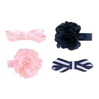 Carter's 4-pk. Striped Bow & Rosette Hair Clips - Baby Girl, Size: One Size (Pink/Navy)